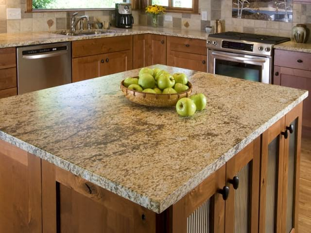 Leathered 3cm Cobra Gold granite Kitchen Counters