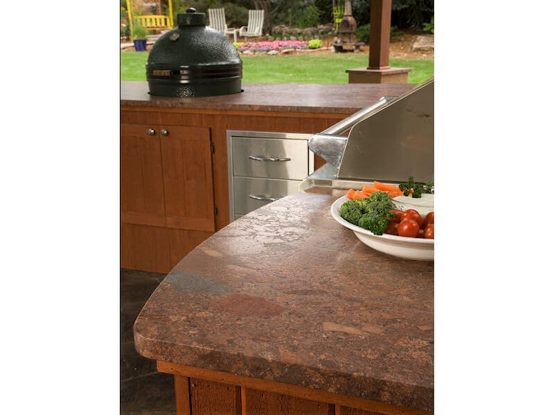 Leathered 3cm Terracotta Bordeaux granite