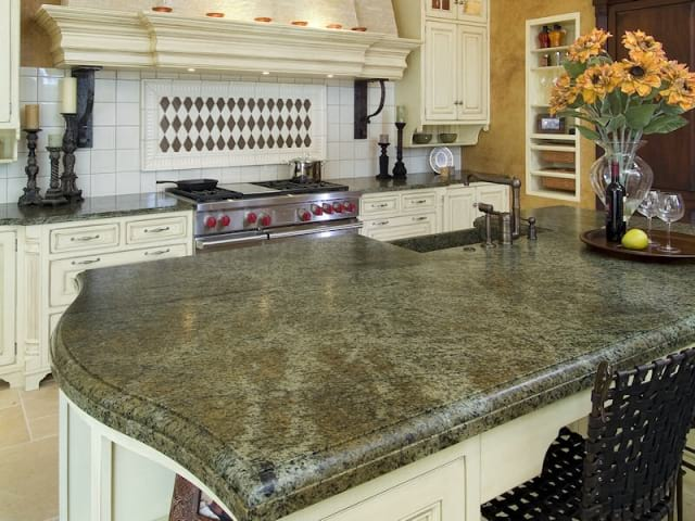 Leathered 3cm Verde Bellagio granite