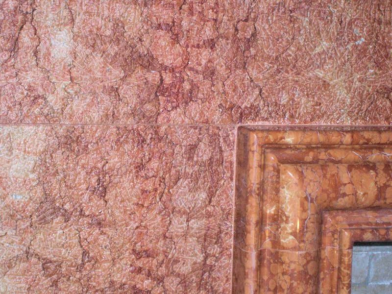 Rustico & Polish finishes on Rosa Verona marble