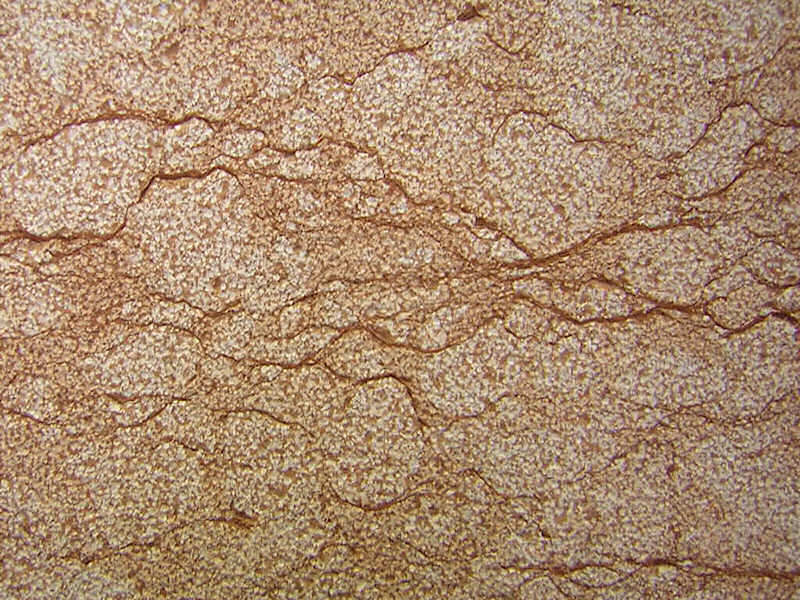 Percoco's Sandblast (Coarse) finish shown on a piece of Rosa Verona marble